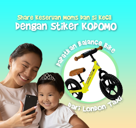 Share Keseruan Moms & Si Kecil di Rumah Bersama KODOMO Sticker & Dapatkan Balance Bike dari LONDON Taxi